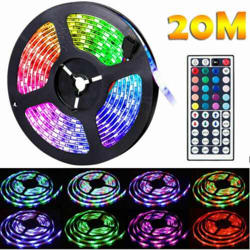 MAX/_65FT Flexible 3528RGB LED SMD Strip Light Remote Fairy Lights Room-Party-Bar