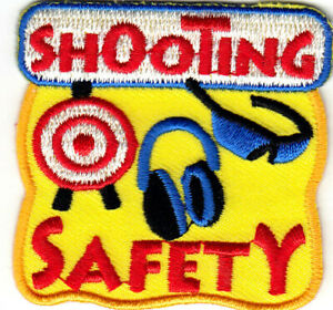 """/""""SHOOTING/"""" Iron On Patch Guns Rifles Gun Safety Shooting Range Targets"""