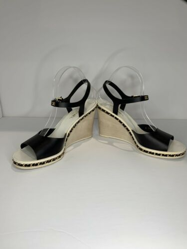 Chanel wedges with chain platform sandals 40
