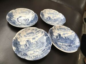 4x Johnson Bros Castle Story Saucers Blue Glaze - Nottingham, United Kingdom - 4x Johnson Bros Castle Story Saucers Blue Glaze - Nottingham, United Kingdom
