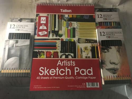Medium Art Kit dessiner Pad Charbon CRAYONS AQUARELLE Dessiner Créer Fournitures Sketch