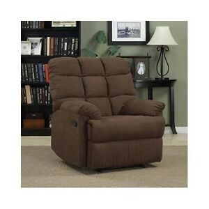 Wall hugger recliner chair brown oversized living room for Oversized living room chair