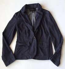 Banana Republic Womens Petite 4P Blue Cotton Knit Denim Print Jacket Flap Pocket