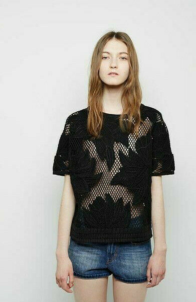 ISABEL MARANT schwarz schwarz Lace Lace Lace Embroiderot Calice Top T M Broderies af4