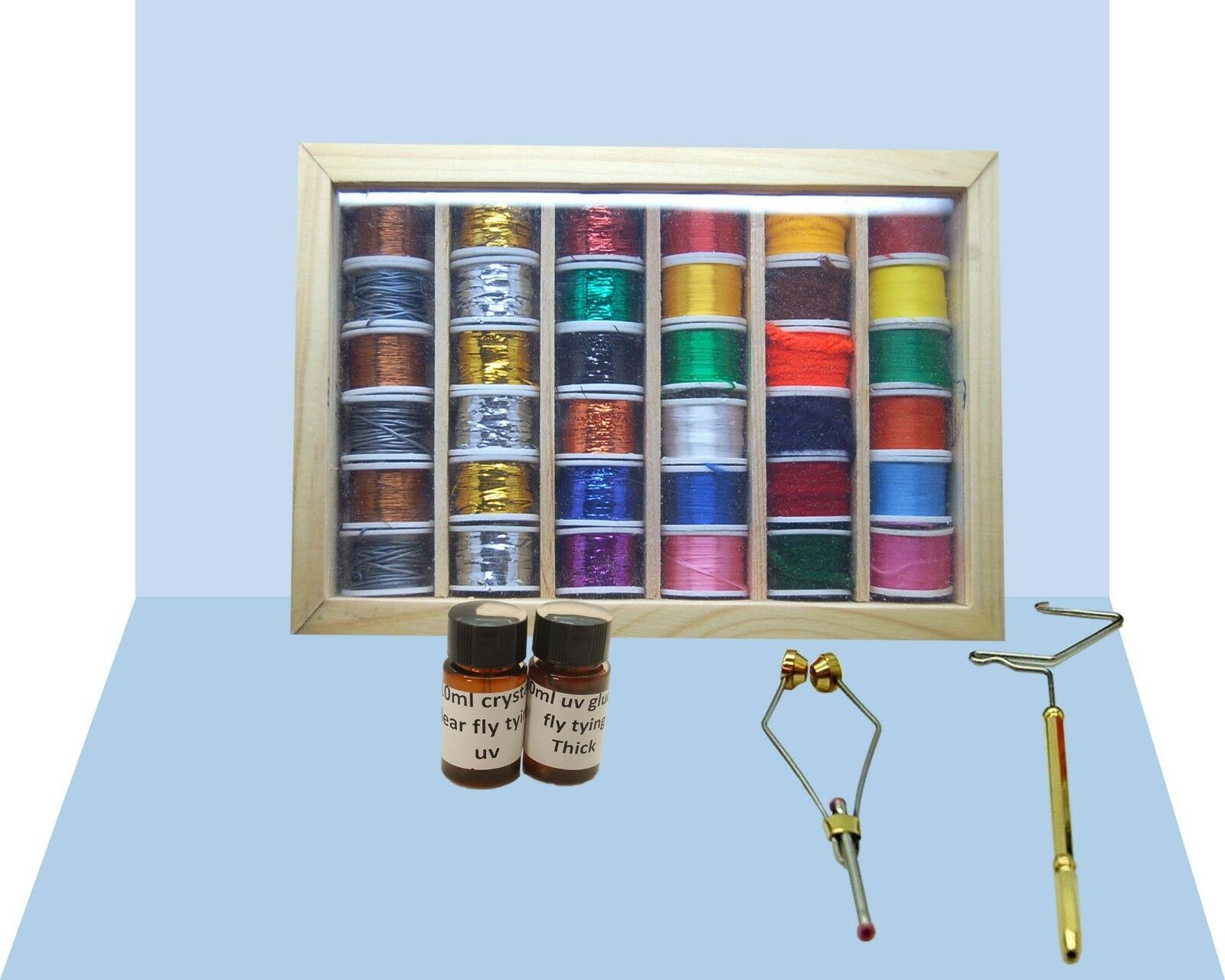 Fly Tying Bundle with 36 Spools Thread, Floss, Tinsel, UV Glue, Wire, Tools