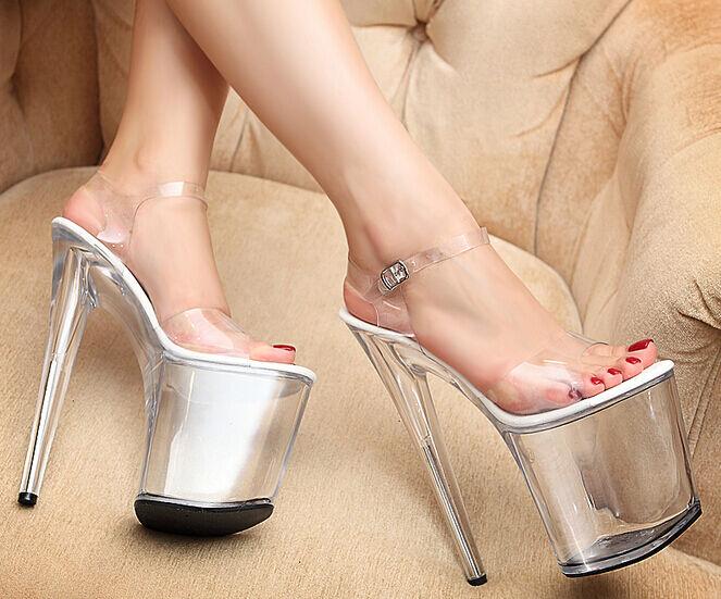 Femmes Sz35-42 Sexy Nightclub Super talons hauts 18 cm Plateforme Bout Ouvert Sandale Chaussure