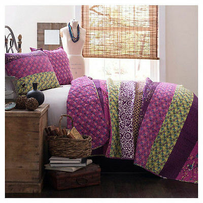 BEAUTIFUL MODERN EXOTIC PURPLE PLUM GREEN COTTON TROPICAL CHIC QUILT SET NEW