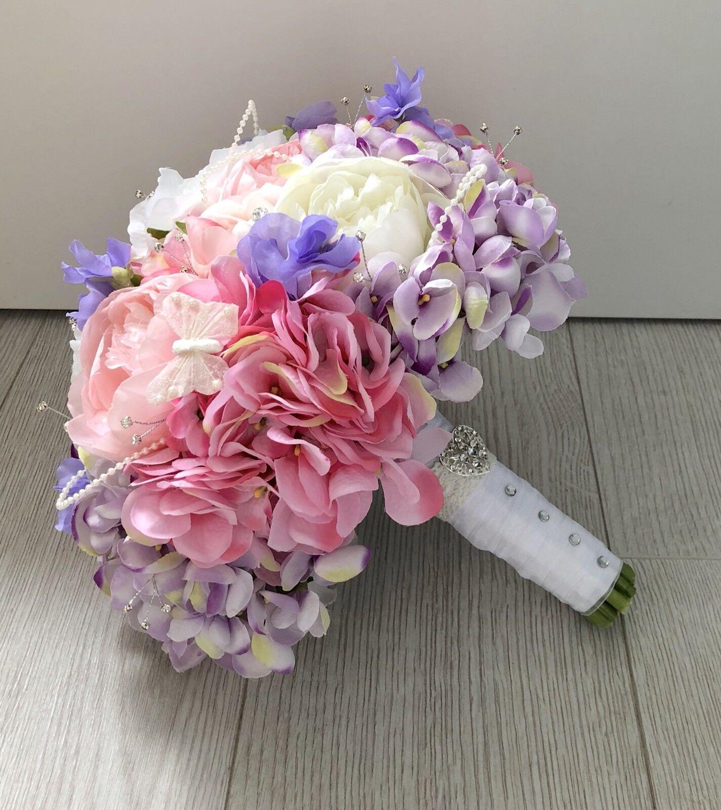 Nozze Fiori Fiori Fiori rosa Lilla Bianco Seta Sposa Bouquet Peonia ORTENSIA Sweet Pea 69b67c