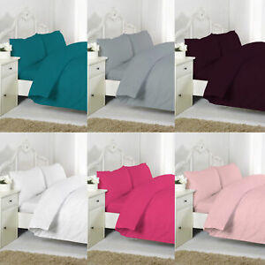 Luxury-Plain-Pollycotton-Non-Iron-Percale-Duvet-Quilt-Cover-Set-WithPillow-Cases
