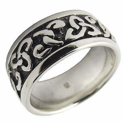 CELTIC TRINITY KNOT 925 Sterling SILVER 9mm BAND RING Size T : Mens