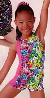 Shorty Gymnastic Unitard Girls Sizes Grafitti Print Peace Hearts Butterflies