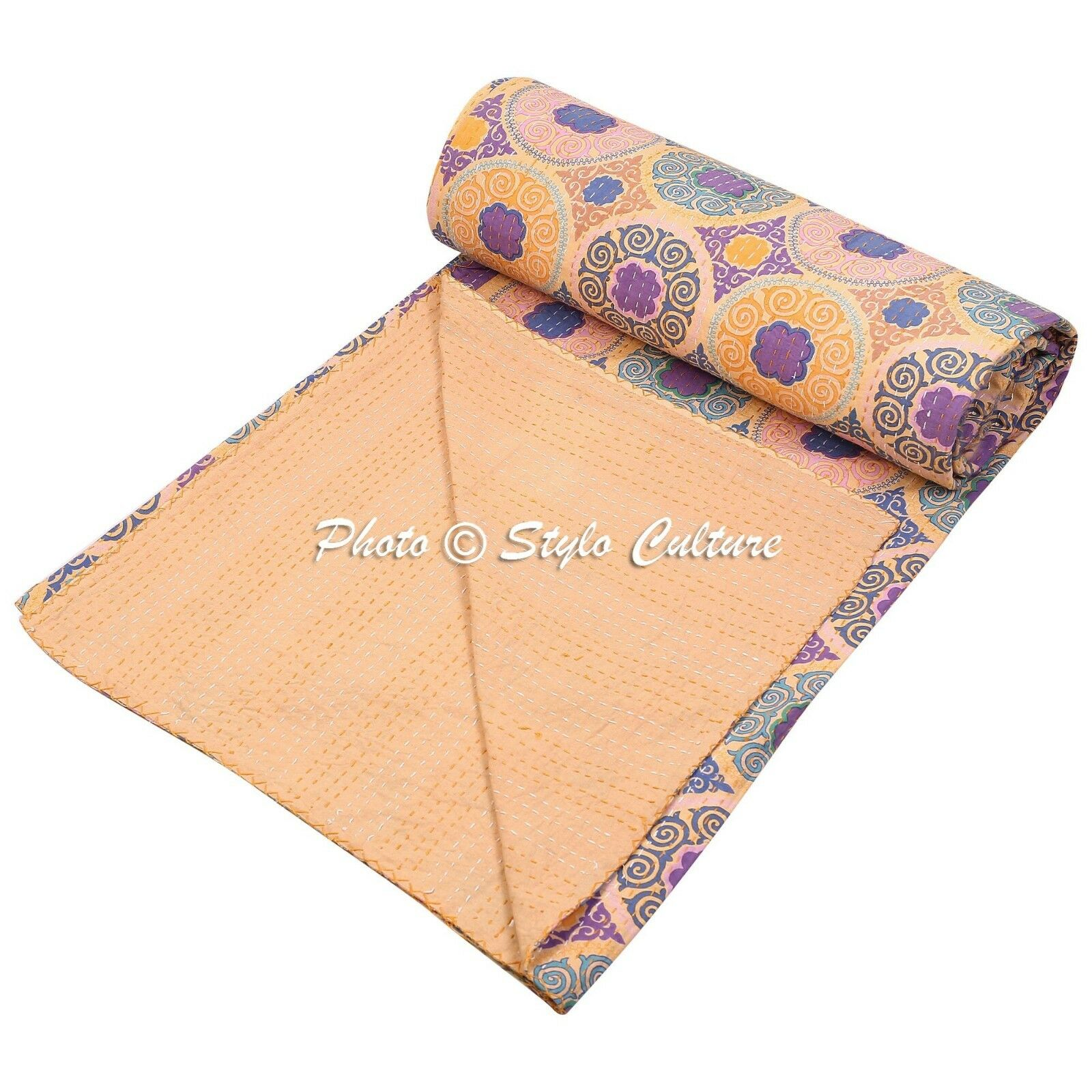 Indian Yellow Kantha Bedding Ikat Cotton Bedspreads Coverlet Throw