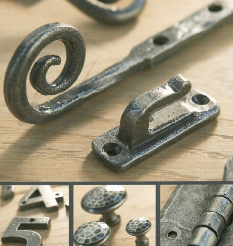 """A Pair Of 6/"""" Door or Large Cupboard H Hinges in Pewter finish Wrought Iron 51"""