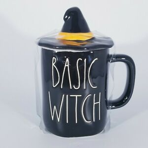 Rae-Dunn-Halloween-Basic-Witch-Mug-with-Witch-Hat-Topper-Black-New