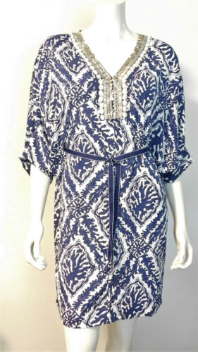 Lilly Pulitzer Wilda Caftan Tunic Dress S Navy Whi