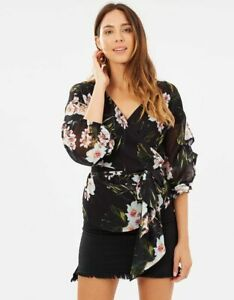 DECJUBA-Womens-Mallory-Wrap-Floral-Blouse-Top-Size-S-or-AU-10-US-6