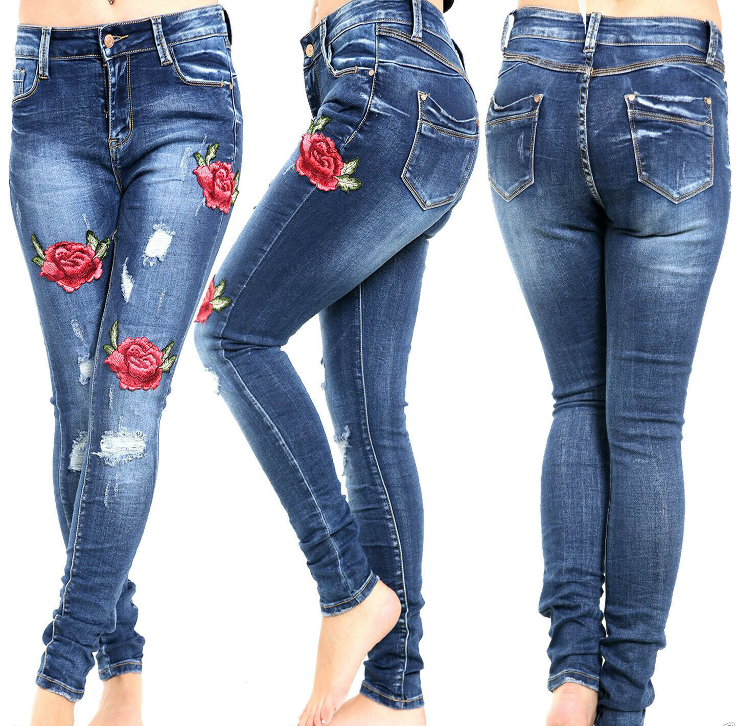 AM/_ PLUS SIZE WOMEN FLORAL EMBROIDERY HIGH WAIST SKINNY JEANS DENIM LONG PANTS N