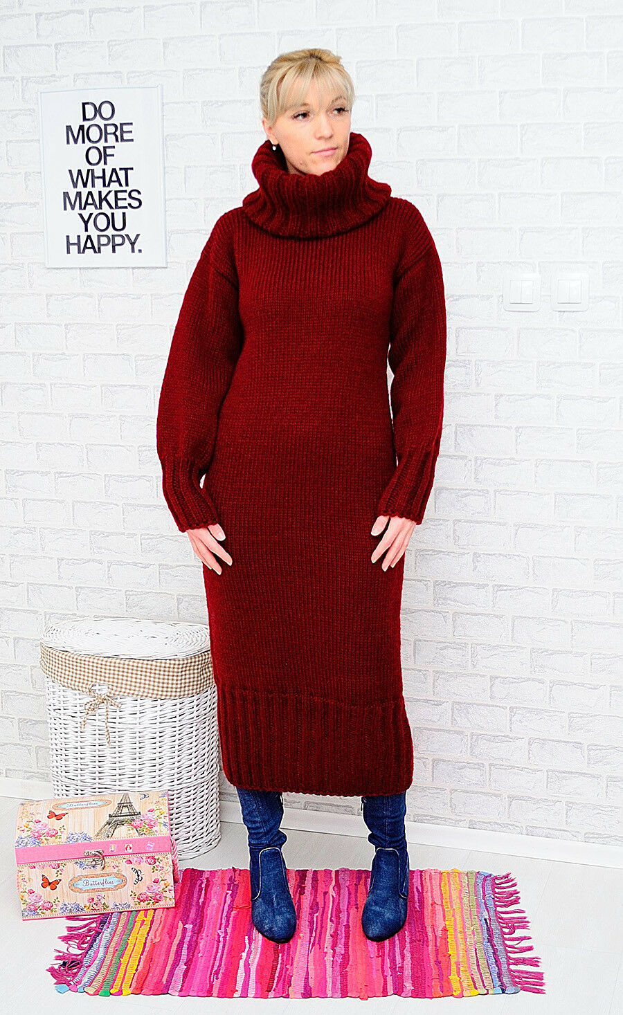 ANGORA Hand Knitted Dress Bordeaux Robe Sweater Mohair Wool Handmade Handmade Handmade NEW SALE  ️ 2e5c8a