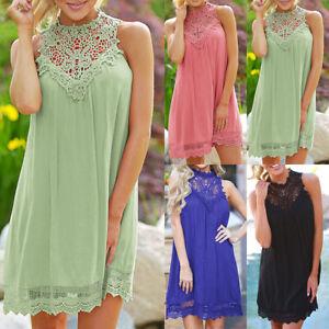 Damen-Spitze-Neckholder-Shirtkleid-Sommer-Strandkleid-Minikleid-Tunika-Longshirt