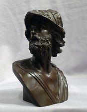 Beautiful Antique Patiated Bronze Bust of Ajax, grand Tour