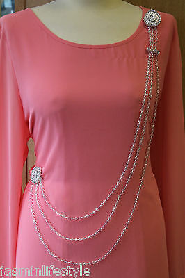 New Belly Dancing Diamante Pearls Abaya Saree Waist Belt Bridal CostumeJewellery