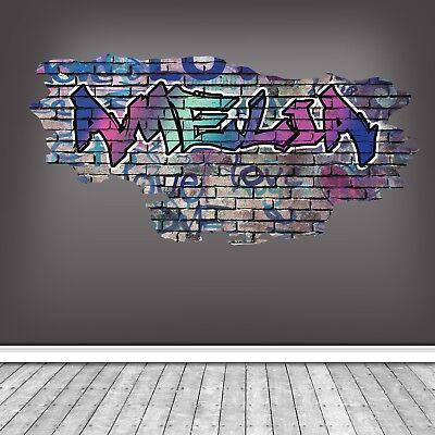 CUSTOM GRAFFITI BASKETBALL NAME BRICK WALL STICKER ART MURAL DECAL WSDPGN82