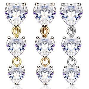 Double Sided Heart Purple CZ 14G Belly Ring Body Jewellery
