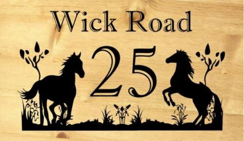 plaque horse Number House Engraved pine Personalised wooden Door sign