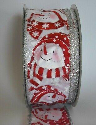 "red silver Luxury 2.5/"" Christmas ribbon glitter per metre Snowman white"