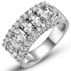 18K-White-Gold-amp-Italian-Cut-Cz-3-Row-Eternity-Ring