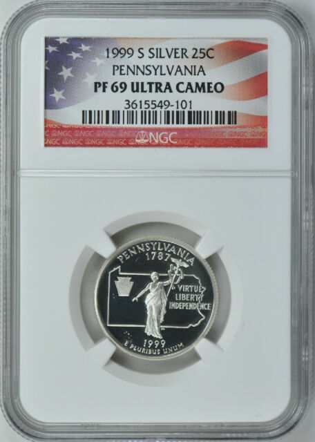 1999-S PENNSYLVANIA SILVER PROOF 25c NGC PF69 ULTRA CAMEO (Flag Label)