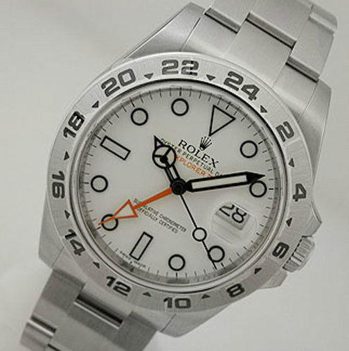 Rolex EXPLORER II 216570 Mens Steel 24HR Bezel White Dial Orange Hand 42MM
