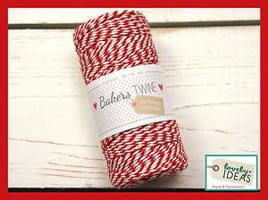 (0.09 €/m) Baker's Twine Rouge/blanc 90 M Rôle Bakers Cordon Bastelschnur-afficher Le Titre D'origine