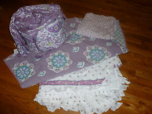 4 pc pottery barn kids girls purple lavender brooklyn crib bedding