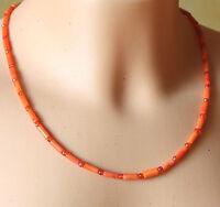 Orange Korallen Kette Mit Zirkon Facettiert – 925 Silber Vergoldet – 48cm 50ct