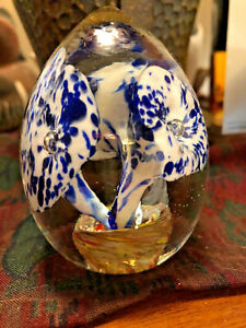 Vintage-Murano-Glass-Paperweight-Orchid-Dahlia-Hand-Blown-Art-Handmade-Venetian