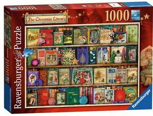 RAVENSBURGER PUZZLE*1000 T*THE CHRISTMAS LIBRARY*AIMEE STEWART*WEIHNA<wbr/>CHTEN*OVP