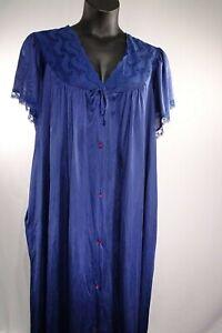 Vintage-Gilead-Blue-Short-Sleeve-Lingerie-Nightgown-100-Nylon-Sz-XXL-Pre-Owned
