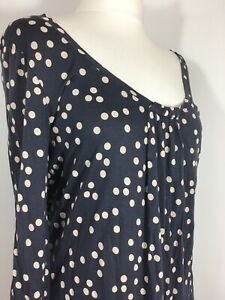 BODEN-14-Navy-Cream-Polkadot-Spotted-Blouse-Top-Relaxed-Fit