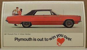 1967 Plymouth FURY III 4-Door Hardtop Original Dealer NOS Promotional Postcard ^
