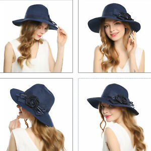 Women s Derby Church Wide Brim Floppy Cloche Flower Hat Bucket Caps ... fb0bb04d53c3