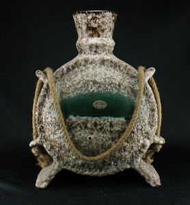 Grosse-XL-Jopeko-Fat-Lava-Keramik-Vase-Objekt-mit-Kordel-60er-70er-Space-Age-wgp