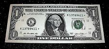 RARE AU $1 ONE Dollar Bill 2013 STAR NOTE Money SERIAL NUMBER K 13789411 DALLAS