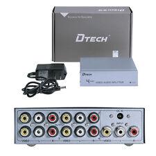 4 Port 3 RCA AV Splitter Box Powered TV Video Distribution Amplifier 1 in 4 out