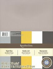 """New Recollections 8.5x11"""" Cardstock Paper High Rise Grey White Golden 50 Sheets"""