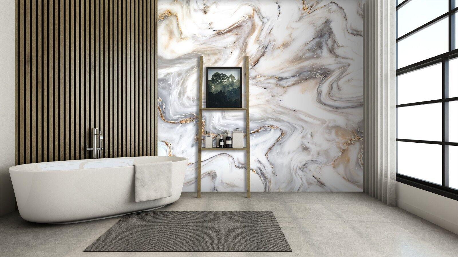 3D Weiß River Water 3 Texture Tiles Marble Wall Paper Decal Wallpaper Mural AJ