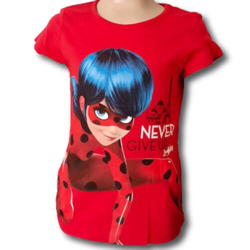 T-shirt Bambini Miraculous LADYBUG Top a Maniche Corte Shirt Nuovo Ragazza Ragazzo Rosso