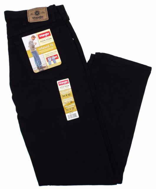 937cc53e Mens Wrangler Five Star Premium Denim Relaxed Fit Black Jeans Size ...