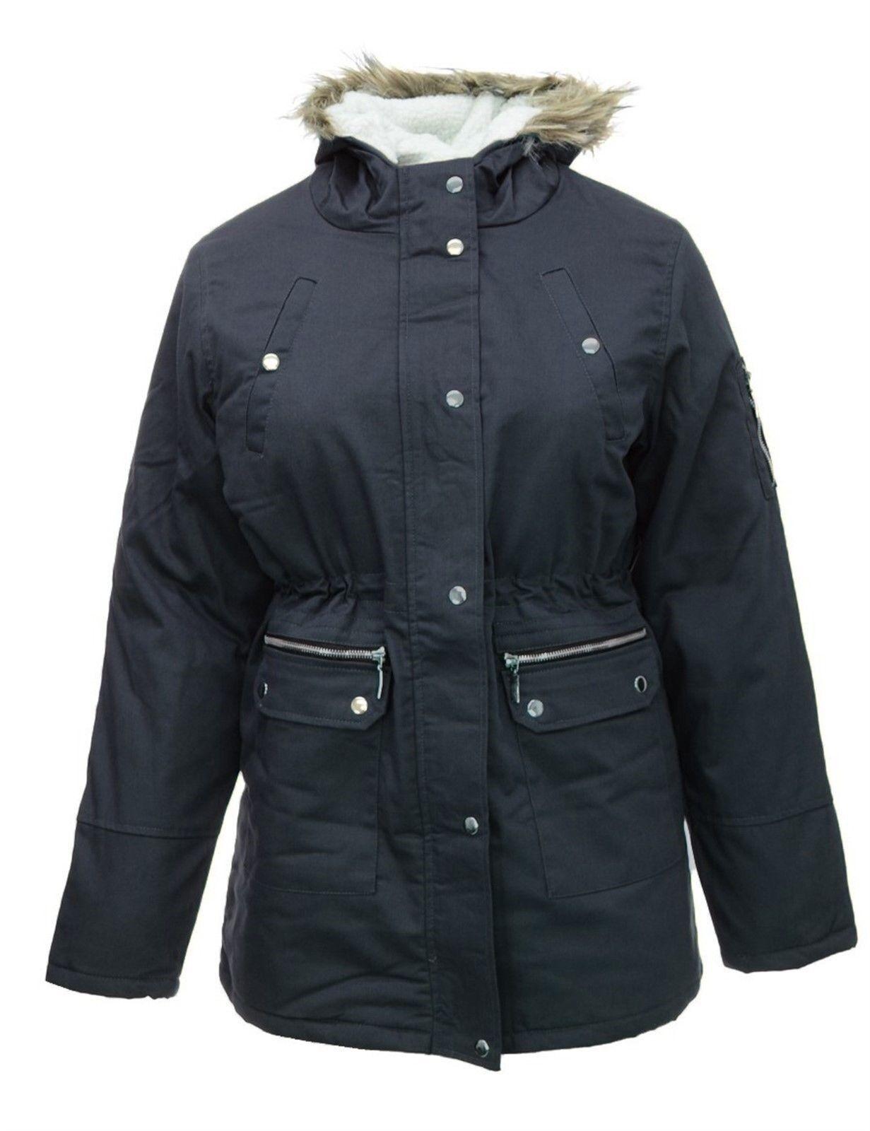 Para mujer 16-30 Nueva chaqueta azul marino de Parka Abrigo largo Forro de piel forrada con forro polar Mujeres