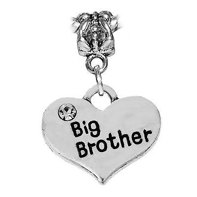 /'Big Sister/' Heart Pendant Charm with Rhinestone for Charm Bracelets